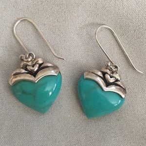 Turquoise heart sterling silver earrings